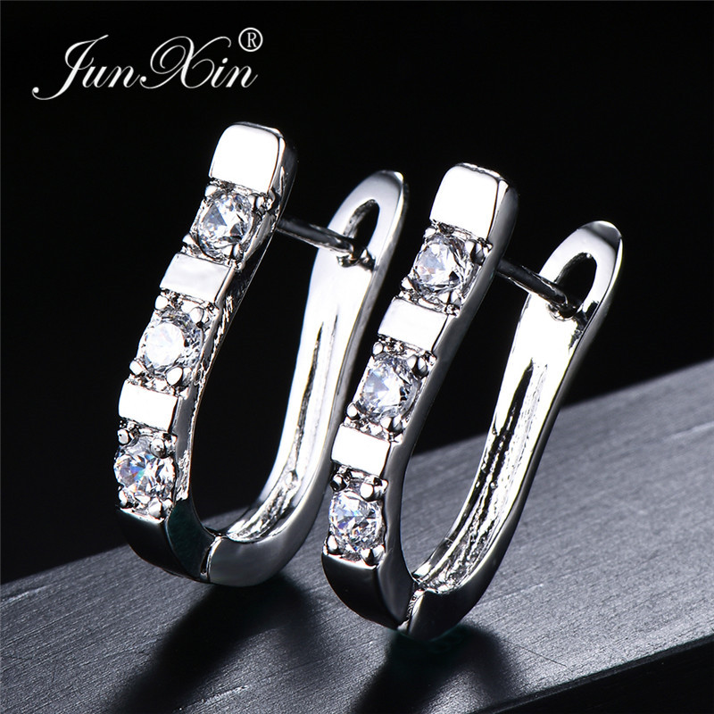 JUNXIN Simpe CZ Stone Hoop Earrings For Women Girls Trendy Silver Color Wedding Earrings Fashion Crystal Jewelry