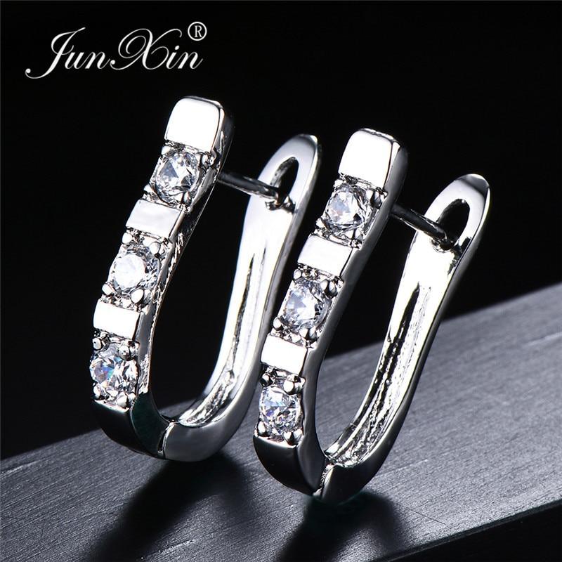 JUNXIN Simpe CZ Stone Hoop Earrings For Women Girls Trendy Silver Color Wedding Earrings Fashion Crystal Jewelry