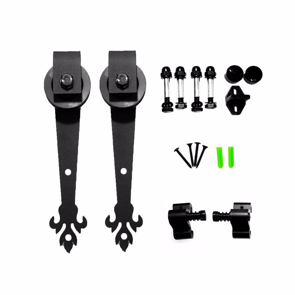 LWZH Sliding Barn Door Hardware Set Black Antique Style Three Leaves Shaped Roller For Closet Sliding Door