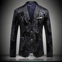 Блейзер для мужчин повседневное Человек Куртка 2019 Весна Фирменная новинка мужской две кнопки Slim Fit Мода Полный пиджак платье черный #8657