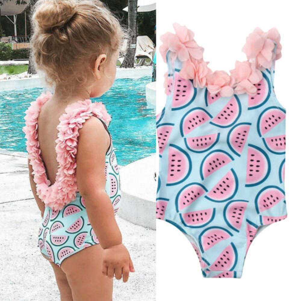 Swimsuit Bikini Watermelon Flower-Decor Printed One-Piece Toddler Girl Sleeveless  title=