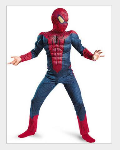 amazing blue spiderman costume kids muscle girl 3d halloween costumes children boys the amazing spider man mask child cos C35127