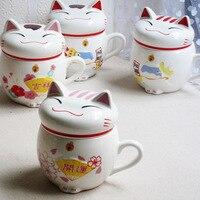1 STÜCK Nette Katze Stil Keramik Tassen mit 3D Deckel und Löffel kreative Moring Becher für Kaffee Milch Tee Einzigartige Porzellan Tassen ENL 002