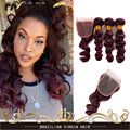 Burgundy Loose Wave Brazilian Virgin Hair Red Raw Loose Curly Deep Ocean Wave 99j Human Hair Weave Wavy 3 Bundles With Closure