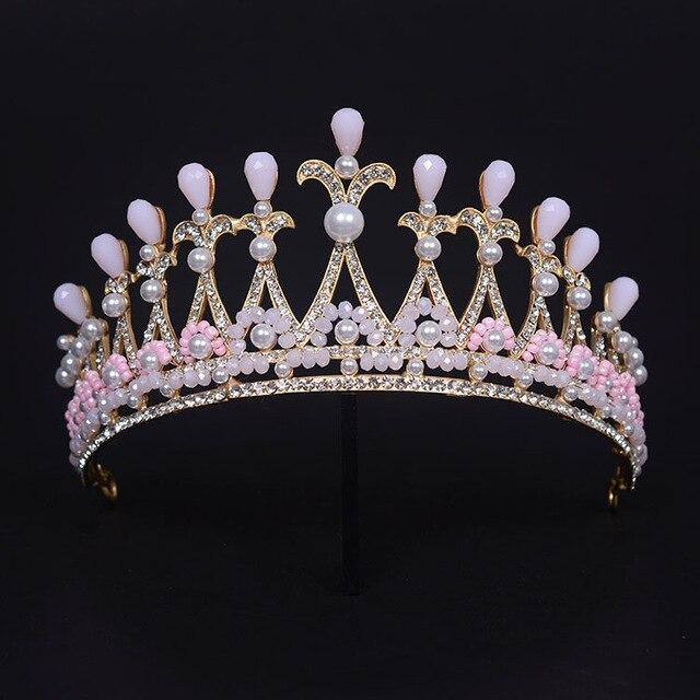 تيجان ملكية  امبراطورية فاخرة Gorgeous-Baroque-Pink-Crystal-Bridal-Tiaras-Rhinestone-Princess-Crown-Noble-Gold-Diadem-for-Bride-Headbands-Wedding