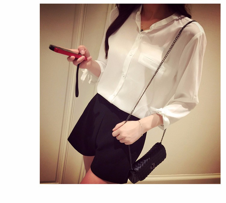 2017 Korean Style Summer Women Blouses Stand Collar Cuff Bow Chiffon Shirt Casual Loose White Tops Women's Clothing S-XL 11