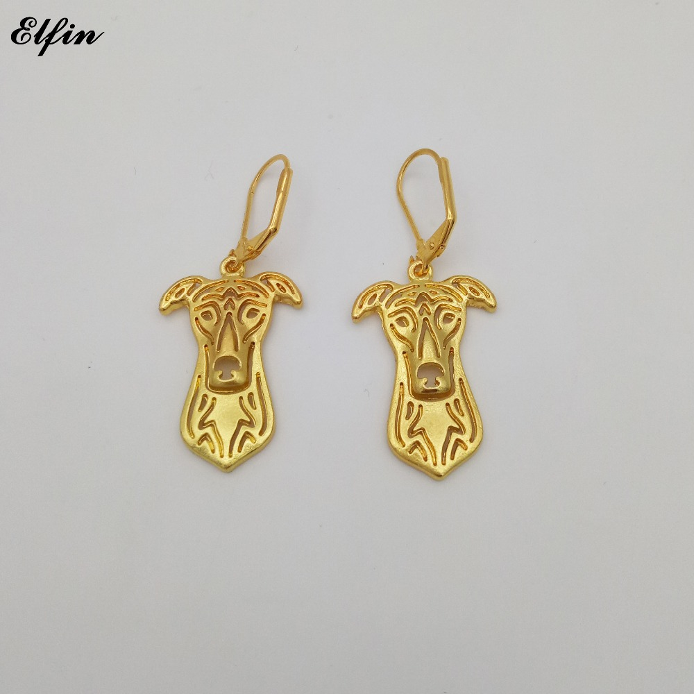 Elfin Wholesale New Trendy Greyhound Earings Fashion Jewelry Gold Color Silver Color Greyhound Dog Earrings For Women