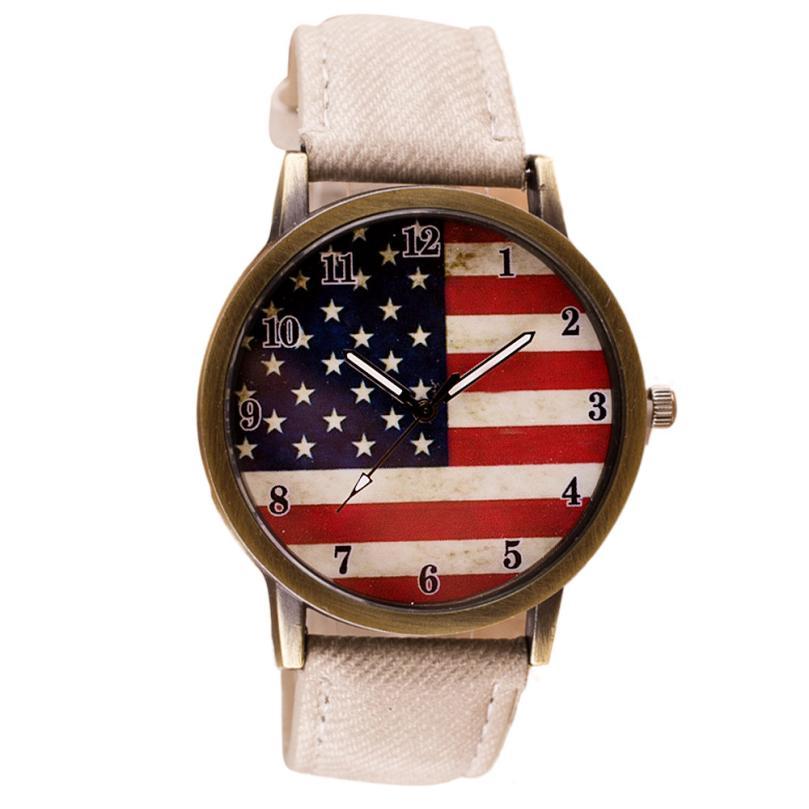 Fantastic 2016 VENDITA calda Bandiera Americana modello Della Vigilanza  Della Fascia sveglia Analogico movimento Al Quarzo Orologi Da Polso Giugno  29 7c5a694aeb5