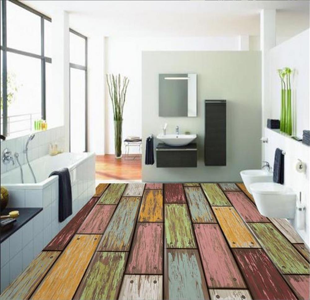 3d Room Wallpaper Custom Photo Room Floor Wallpaper Wood Grain Bathroom Floor Mural Pvc Wallpaper Self