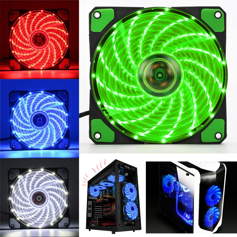Convenient 12cm Ultra Silent LED Case Fans Light Up 15 Leds Cooling Anti-Vibration PC Computer Heatsink Cooler Fan HY99 AU09 computer components pc case fan mouting pin anti noise vibration silicone screws anti vibration shock absorption 20pcs