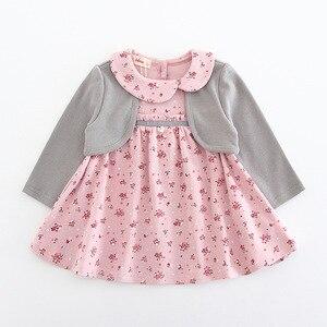 Image 3 - בגדי תינוקות פעוט ילדי תינוק בנות שמלת מקשה אחת ארוך שרוול פיטר פן צווארון פרחי הדפסת מסיבת נסיכת שמלת 2 צבע 0 2Y