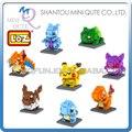 8 unids/lote Mini Qute 8 estilos 3d pokemon Pikachu bloque de diamante loz minorista de cubo de plástico building blocks ladrillos figura juguetes educativos juego