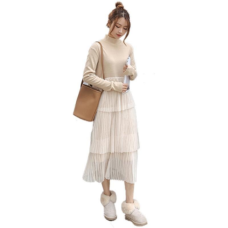 406661318b10 Vestito Lungo Signore A Caldo Solid Della Lavorato apricot Donne Molla  Donna blue Maglia Delle Dresse Black ...