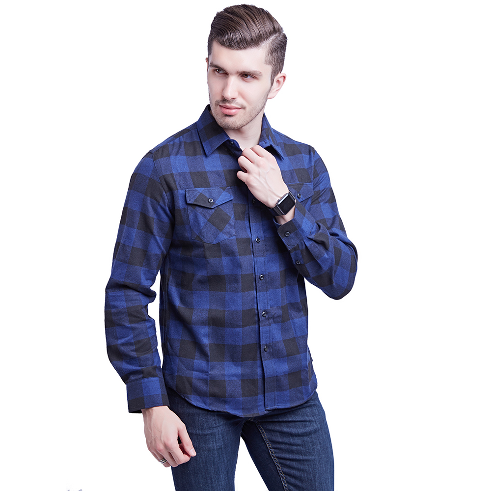New Cotton Flannel Checked Fabric European And American Size Double Bag Cover Shirt Men's Wear