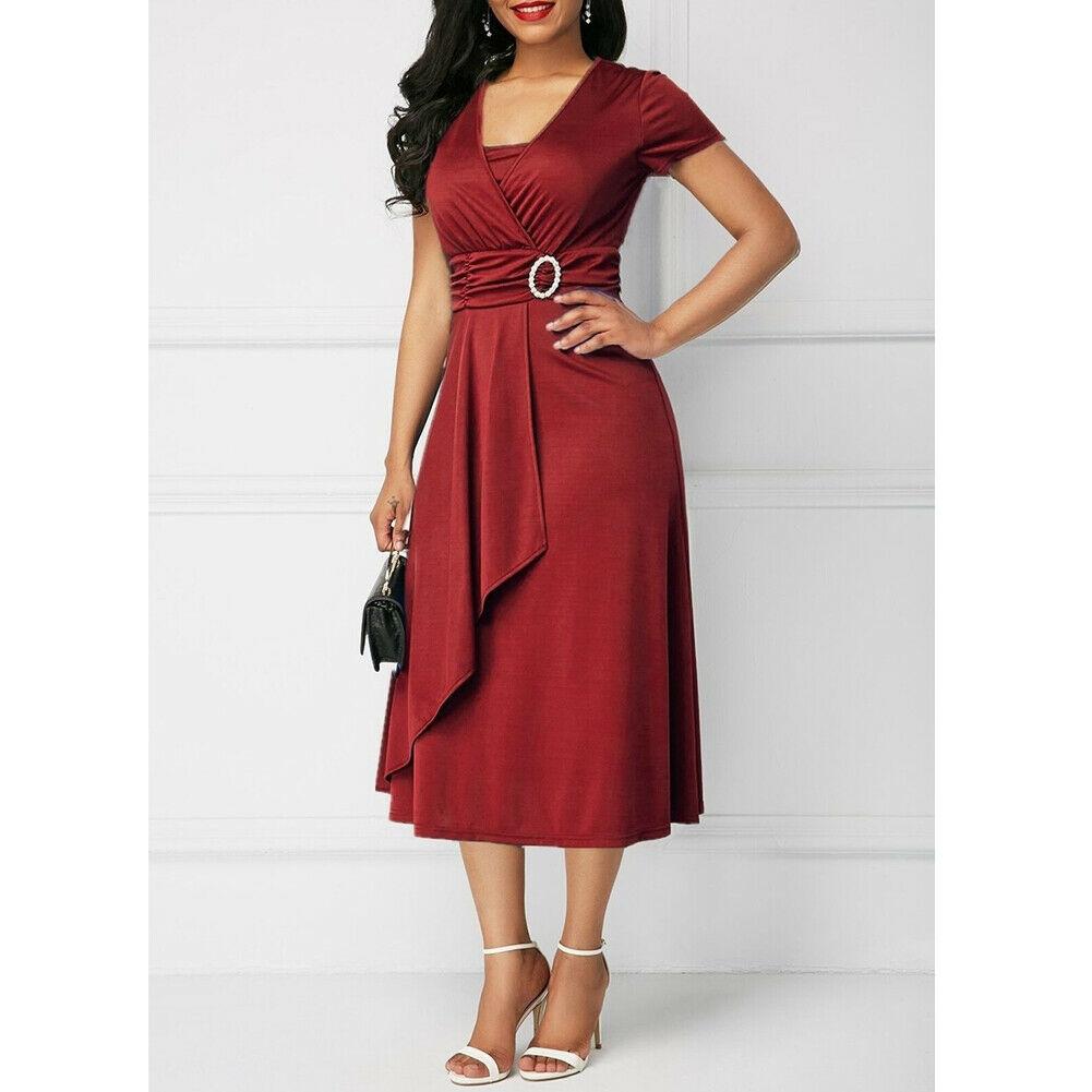 Summer Solid Casual Short Sleeve V-Neck Dress 1