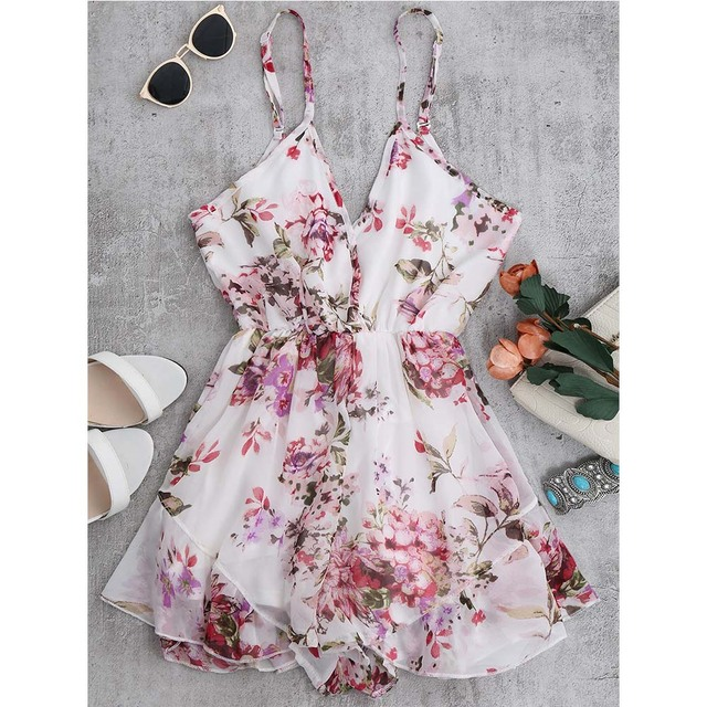 ZAFUL Summer Holiday Floral Print Women Romper Jumpsuit Sexy Flower Chiffon Cami Strap Beach Romper Playsuit Overalls 2019 New 2