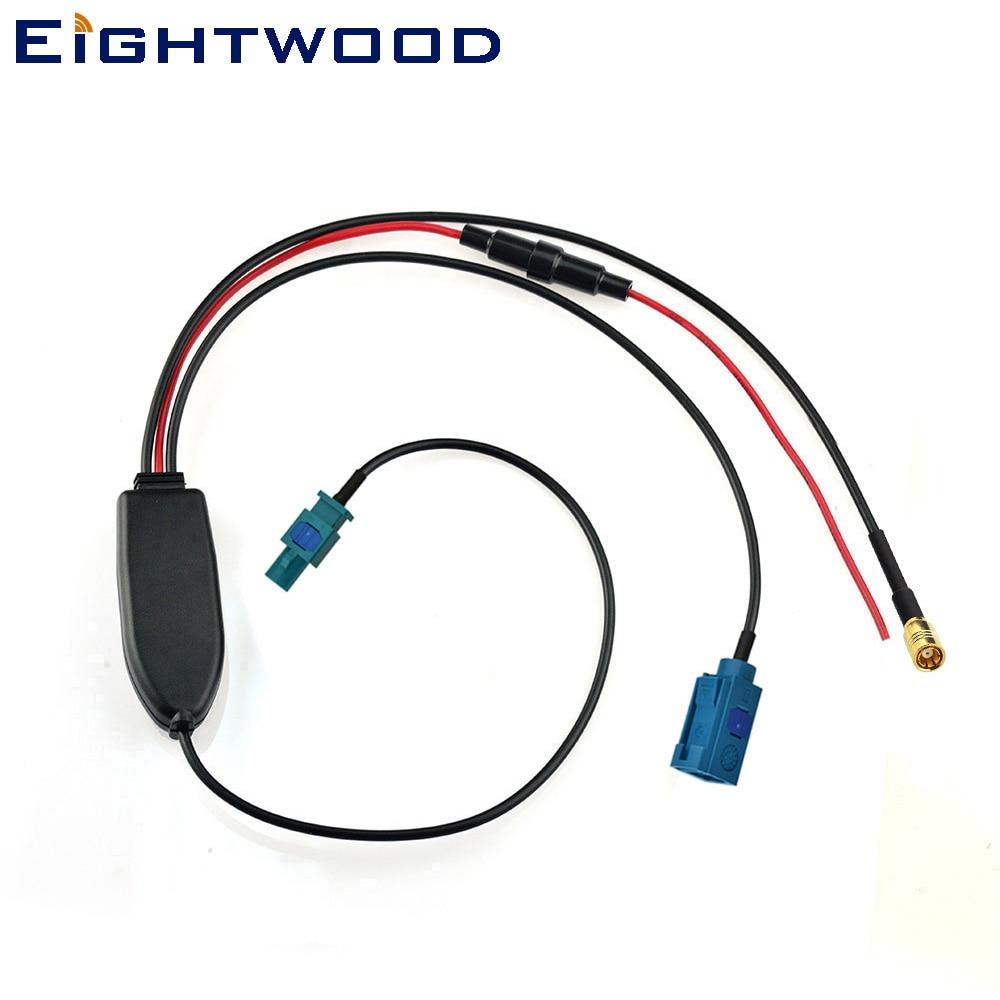 Eightwood Conversion FM/AM to DAB/FM/AM car radio aerial antenna converter/splitter/Amplifier Fakra connectors for Blaupunkt DAB