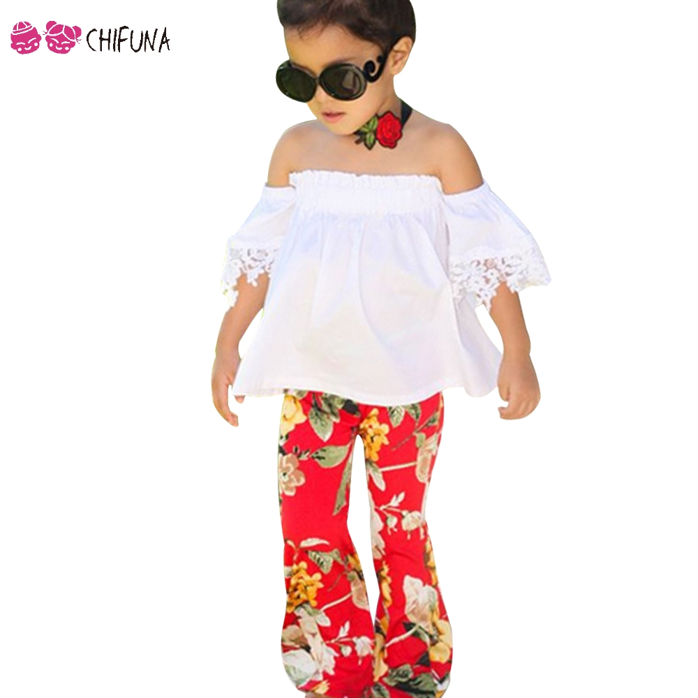 chifuna 2018 New Fashion Girls Outfits Clothing Off-shoulder Lace Top + Floral Long Pants 2PCS Set Children Clothes Girls Set