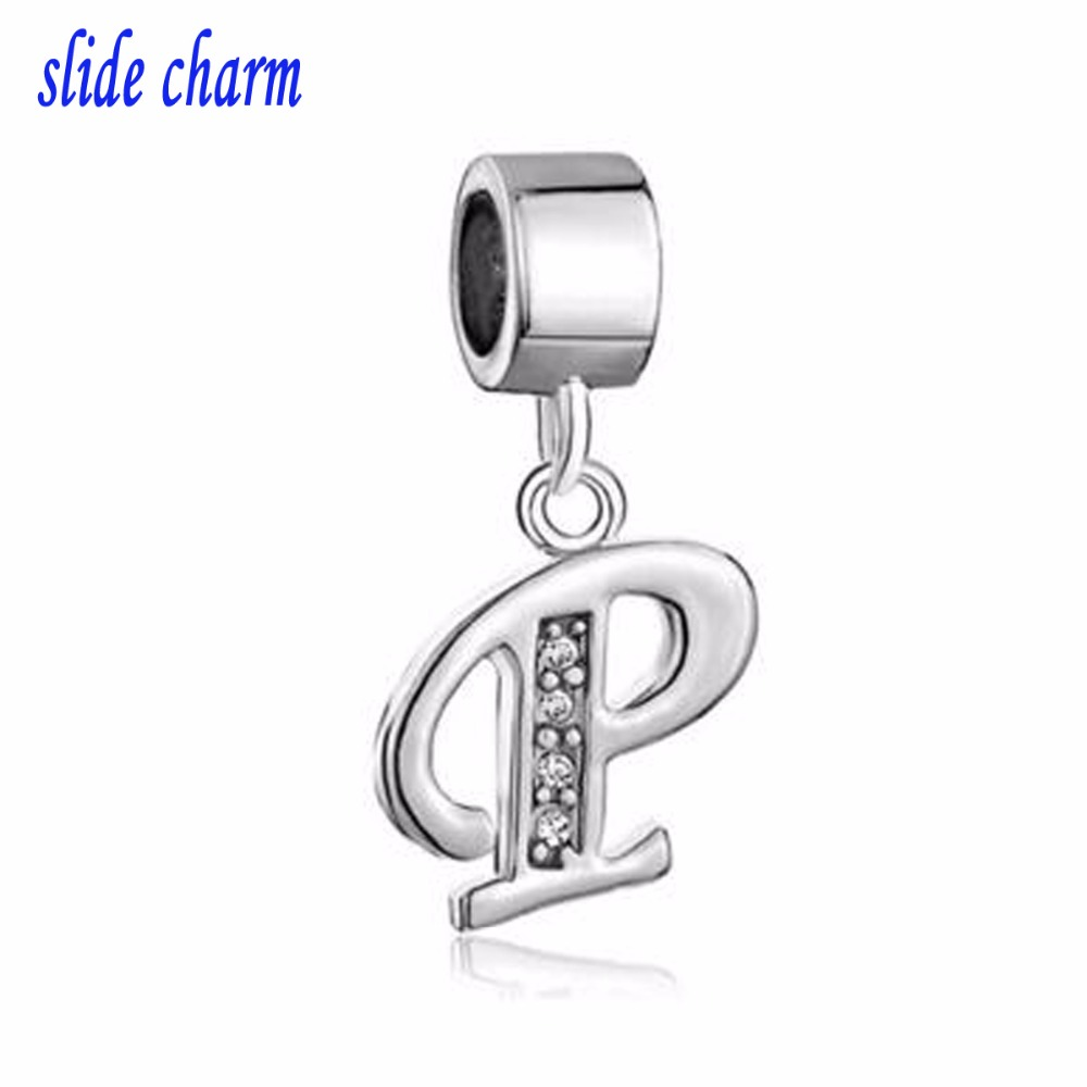 slide charm Free shipping P alphabet white crystal pendant to my love talisman charm charm beads fit Pandora bracelet