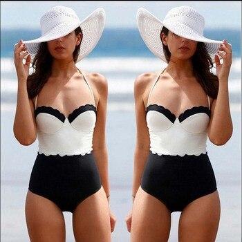 2018 Jednoczęściowy Strój Kąpielowy Kobiet Retro Stroje Kąpielowe Kobiety Solidna Sexy Halter kostium Kąpielowy Może Kąpiący Vintage Monokini Kostiumy Kąpielowe Biquini