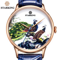 STARKING Famous Brand Watch Men AAA Quality Colorful Peacock Dial Royal Blue Watch Unique Design Steel Business Watch Automatic