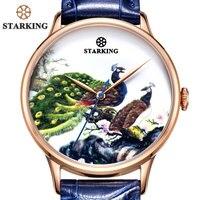 STARKING Słynny Zegarek Marki Mężczyźni AAA Jakości Kolorowy Paw Królewski Niebieski Zegarek Wybierania Unikalna Konstrukcja Steel Business Watch Automatyczne