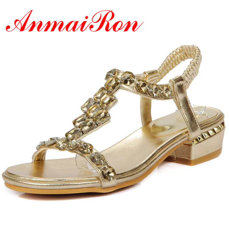 ФОТО ANMAIRON Summer Fashion Sweet Style Women Shoes Square Heel Sandals Gold Silver Colors Elastic Brand Causal Shoes Big Size34-43