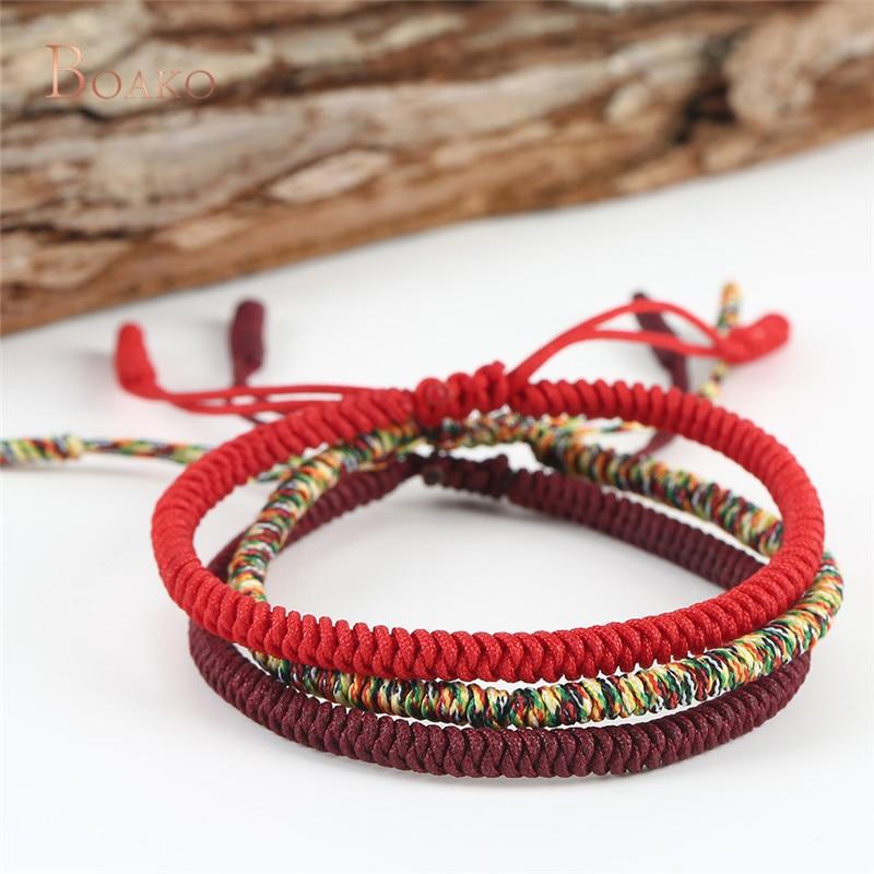eff5a51f6ffc Multi Color tibetano budista buena suerte encanto tibetano pulseras y  brazaletes joyería para Mujeres Hombres hechos a mano nudos cuerda pulsera  Z3
