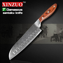 NEW 7″ inch Japanes chef knife Japanese  Damascus kitchen knife high quality VG10 santoku knife wood handle FREE SHIPPING