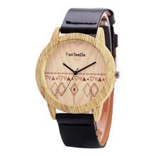 fe73879e93b 2018 Homens moda relógios men   FD073 FanTeeDa geometria cáqui dial quartz  leather   de madeira