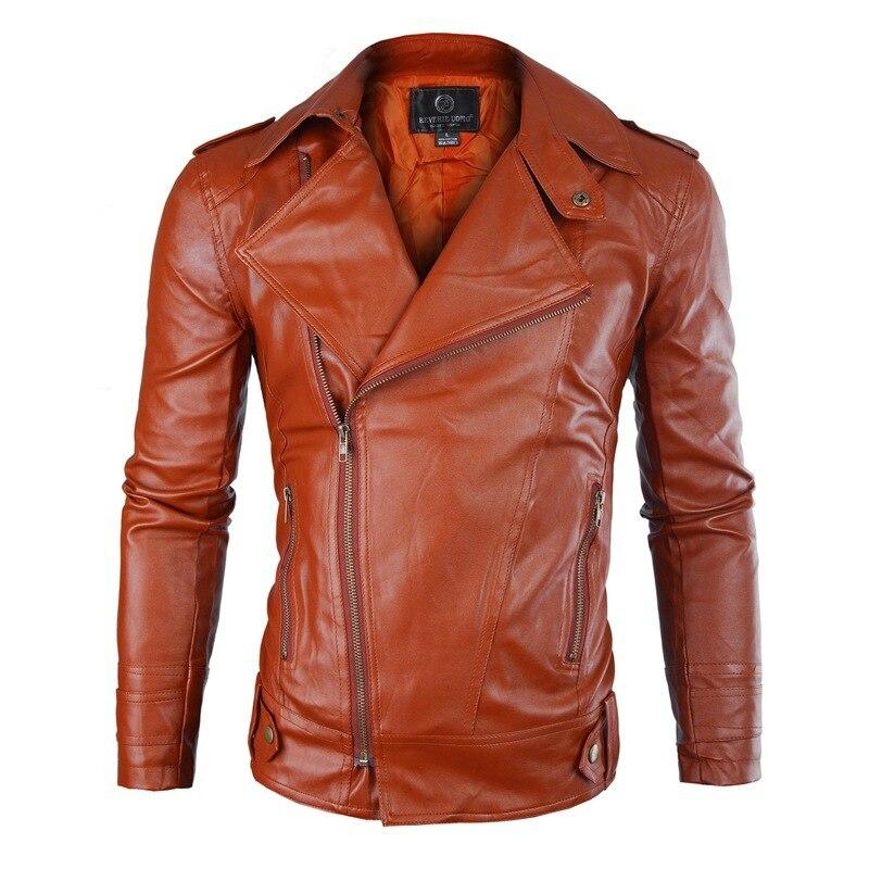 Européen Cuir De Oblique Hommes Manteau Veste En kaki camel Couleur Noir  Zipper Mince Homme Pu ... 6e8d1f856c1