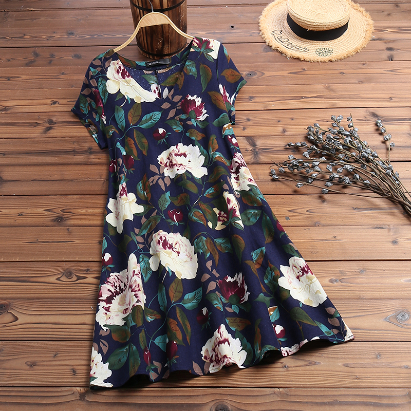 ZANZEA Women Summer Short Sleeve Cotton Linen Dress Vestido Robe Kaftan Femme Vintage V neck Floral Printed Party Sundress 5XL 13