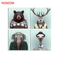 Funny Animals Print Canvas Printing Modern Wall Art Pictures 4 Panels For Home Wall Art Decor