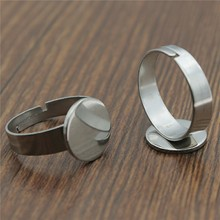 10pcs 12mm Round Flat Base Stainless Steel Material Adjustable Ring Settings Base For Jewelry Making