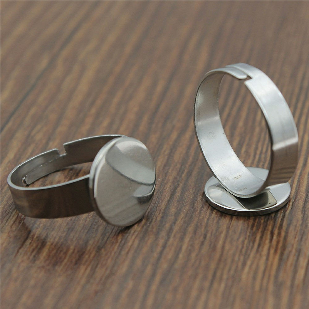 10Pcs 12*12MM Rounded Square Sharp Bezel Adjustable Ring Blank Pad Bases