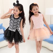 Girls Korean Children Summer Sleeveless Princess Dress Kids Clothing Flowers Lace White Pink Black