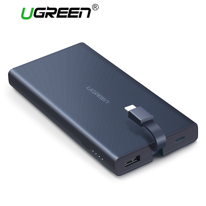 Ugreen Quick Charge Power Bank 10000mAh Portable External Battery Pack with Built-in Typ ...
