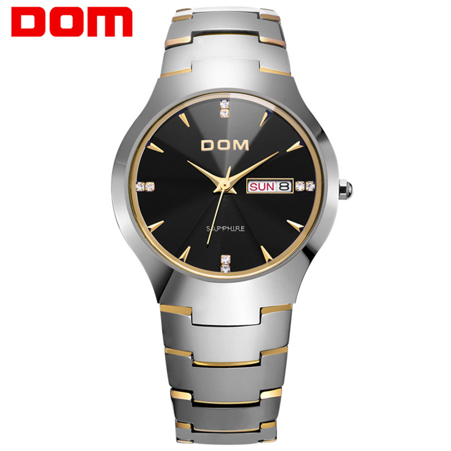 DOM Watch Men Tungsten Steel Luxury Top Brand Wrist 30m Waterproof Business Quartz watches Fashion Casual sport 2017