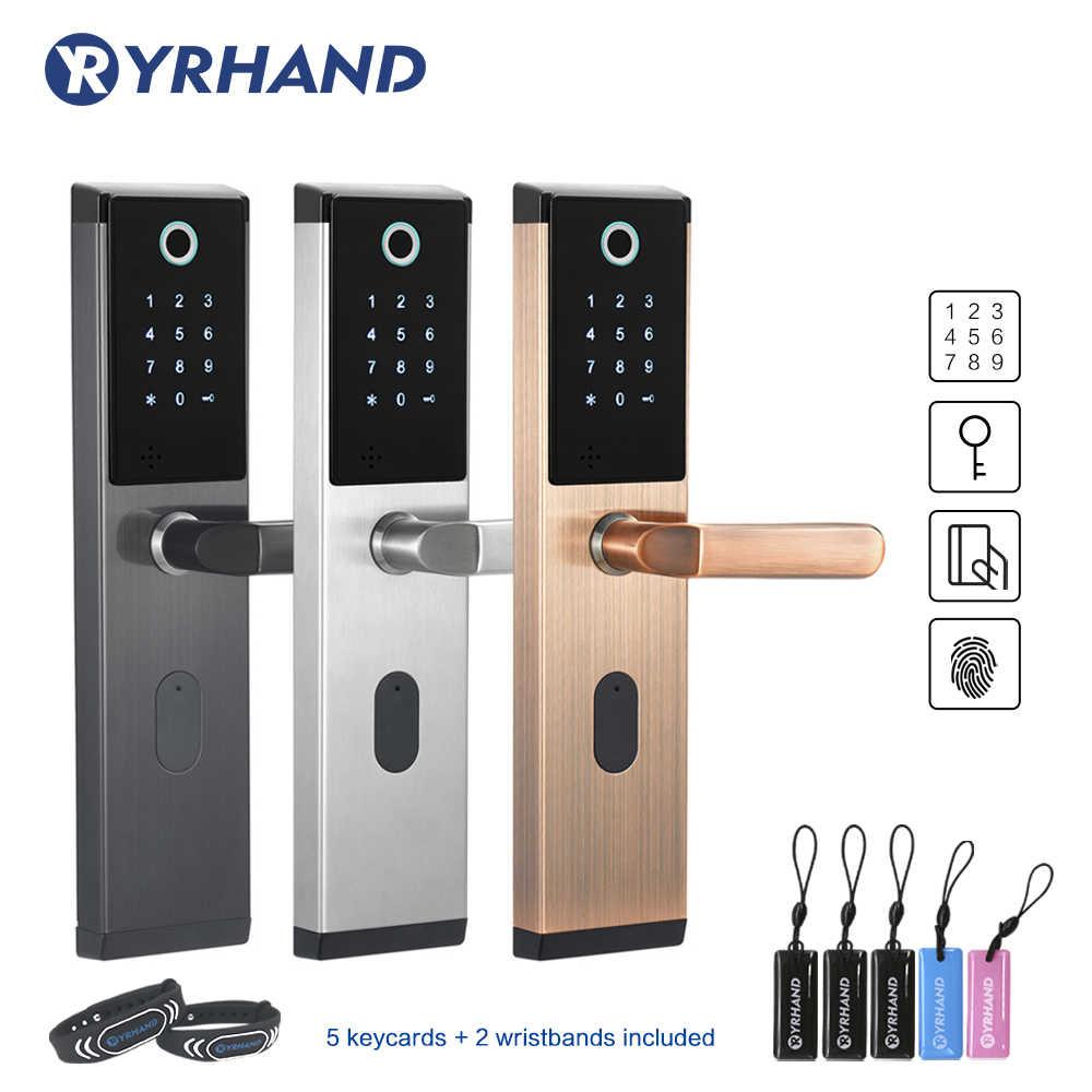 YRHAND Keyless ลายนิ้วมือแบบไร้สายสมาร์ทล็อค biometric ล็อค,ประตูล็อคบ้าน,Electronic ปุ่มกดรหัสประตูล็อค