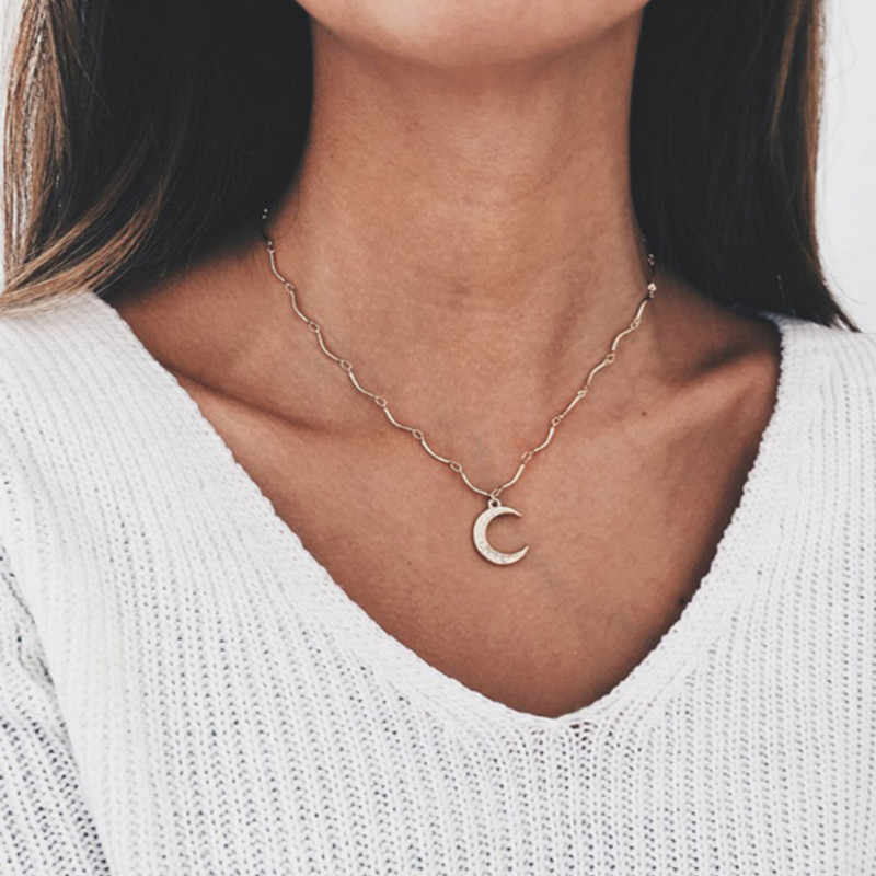New Fashion DOUBLE HORN PENDANT HEART NECKLACE GOLD Dot LUNA Necklace Women Phase Heart Necklace Drop shipping  B06