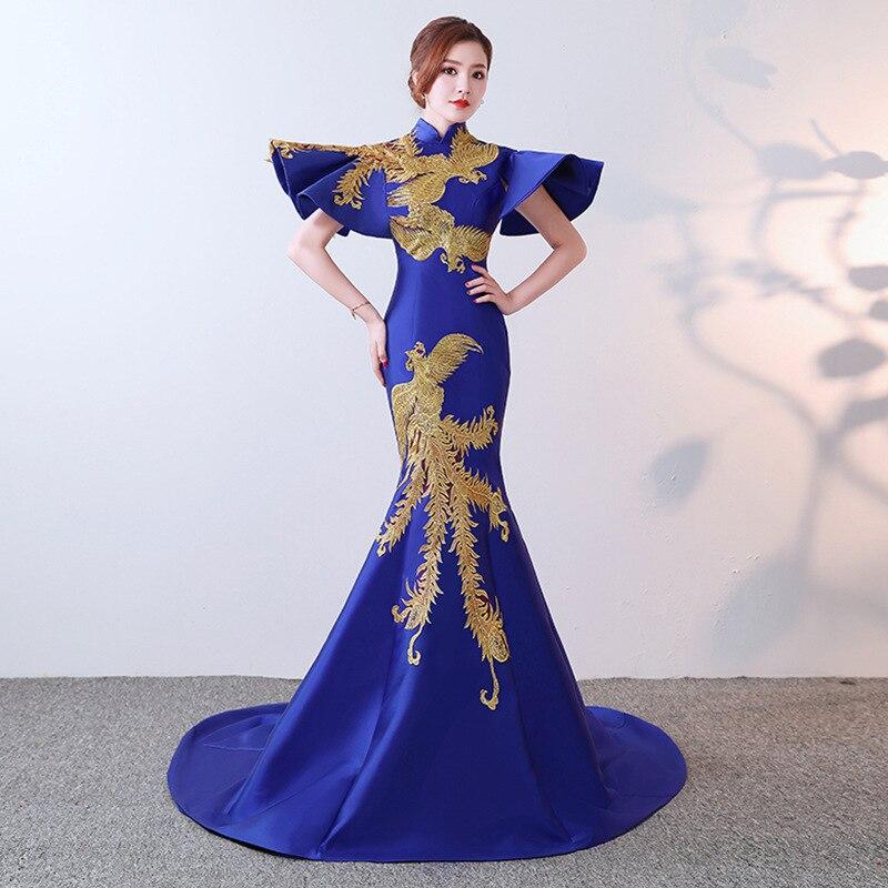 Luxe Bleu Robes De Soirée Avec Plancher Longueur Châle Sirène Traditionnelle Partie Robes Vintage Broderie Robe De Mariage Chinois