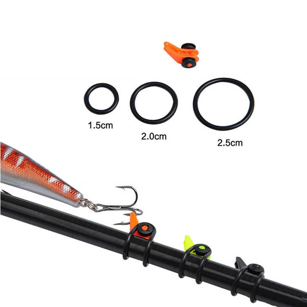1 Setplastic & ゴム釣竿ポールフックキーパールアースプーン餌フックロッドシャックルロックラフティングタックルアクセサリー
