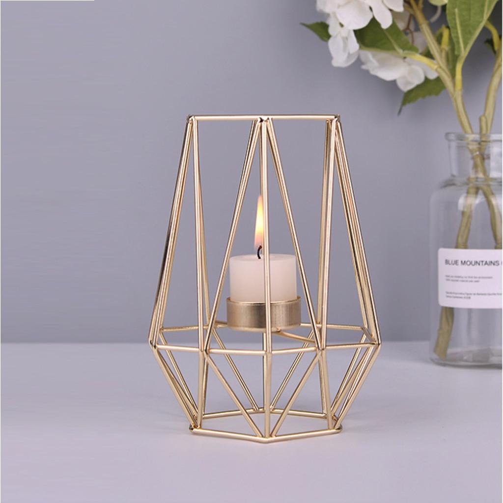 Iskandinav tarzı ferforje geometrik mumluklar ev süslemeleri Metal el sanatları şamdan candelabros de velas tutucu mesa