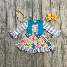 spring/winter baby girls cotton jade grey floral dress ruffle children clothes boutique outfits knee length match accessories