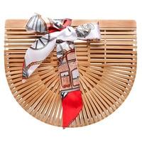 Mealivos Vintga Bamboo Handbag Handmade Tote Bamboo Purse Women Straw Beach Bag
