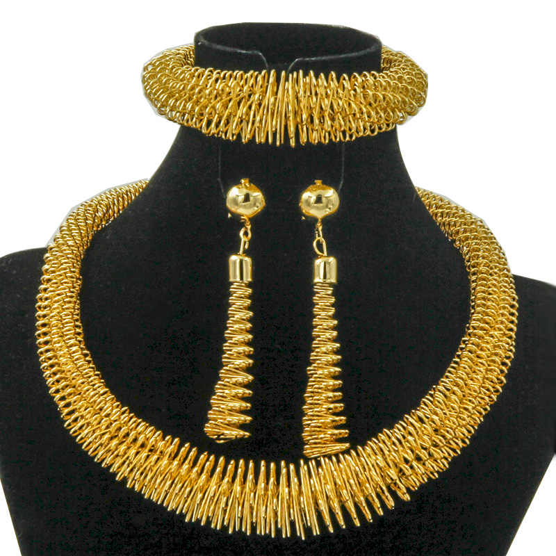 Liffly New Africa 24 Gold Jewelry Sets Alloy Necklace Bracelet Earrings Set Creative Chain Jewelry Bold Anniversary Gift Jewelry