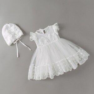 Новинка, детское платье с шапкой, белое кружевное платье с вышивкой, платье на крестины для девочек 1 год, платье на день рождения, одежда для ...