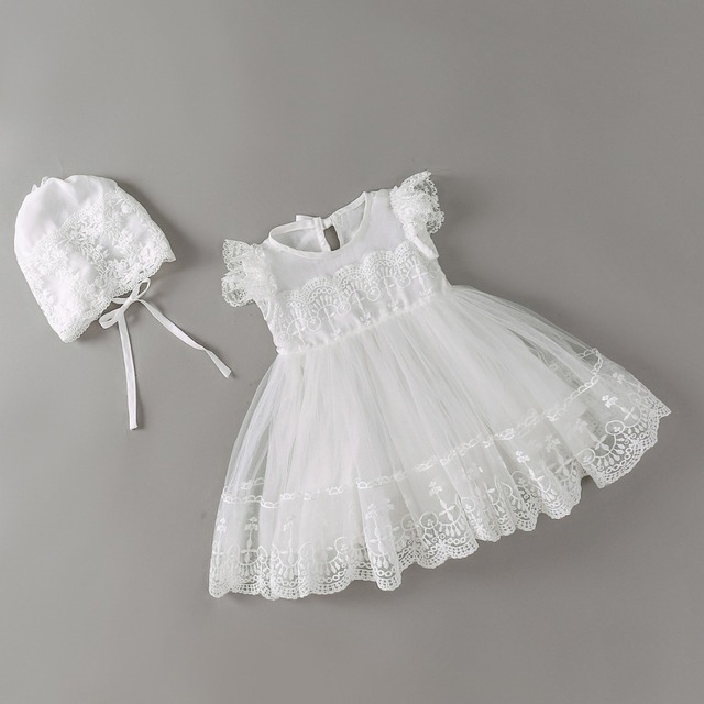 94b9a4463 new baby dress with Cap white Embroidery lace baby girl christening gowns 1  year birthday dress baby girls clothes for 3-24M