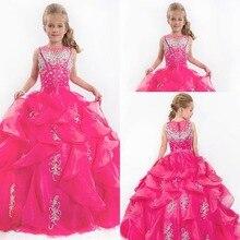 Милые сверкающие пышные платья для девочек Длина до пола свадебный из органзы цвета фуксия Принцесса бальное платье совок цветок девушка платье