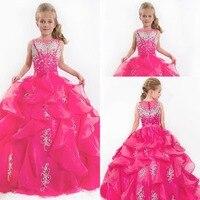 Симпатичные Игристые девушки Pageant Платья этаж длина фуксия органзы принцесса бальное платье scoop цветочница платье бесплатная доставка